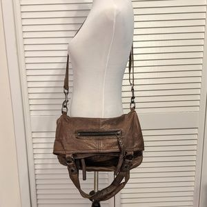 Marc New York Distressed Leather Foldover Handbag
